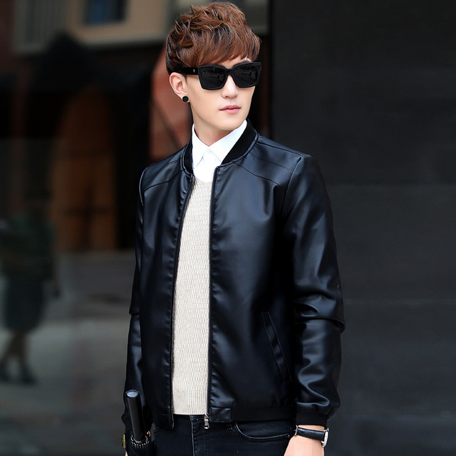 Spring Autumn Men Fashion Casual Black Leather Coat Jacket Young Men