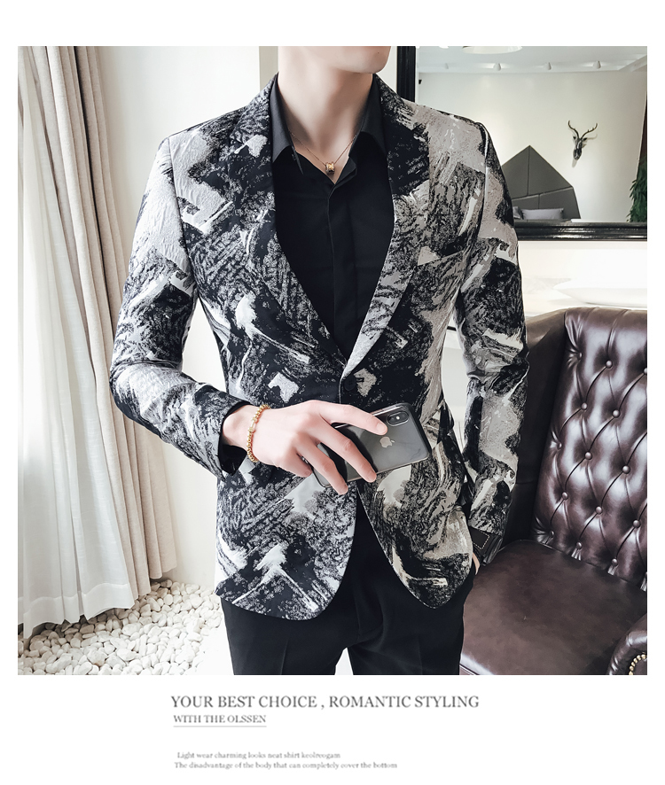 Luxury British Style Jacket Men Slim Fit Casual Floral Print Blazer