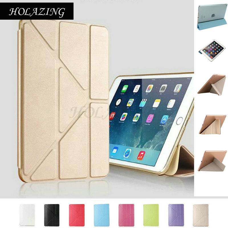 HOLAZING Soft Silicone TPU Full Body Slim Smart Stand Case Translucent Back Protector Cover for iPad Air 2 Air2 AUTO On/Off soft silicone tpu translucent back cover for ipad mini 4 mini4 trifold stand smart auto on off premium pu leather slim fit case