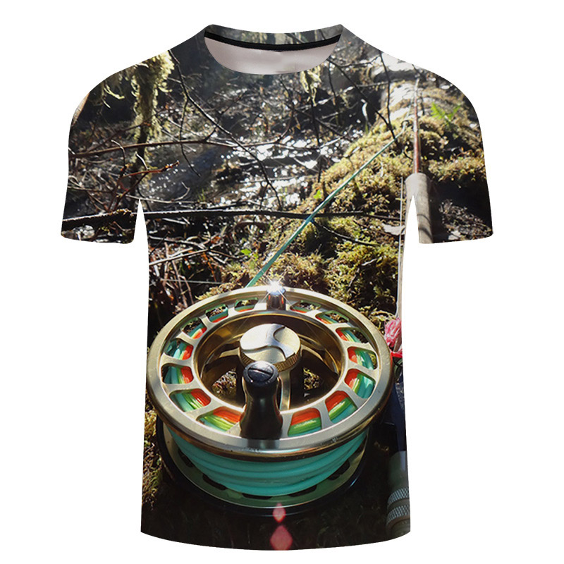 cb2f61520bfd4 SOSHIRL Angler T Shirt Summer Fly Fish 3D Tops Short Sleeve Cool Unisex  Casual T-shirt Extreme Fisher Streetwear Plus Size