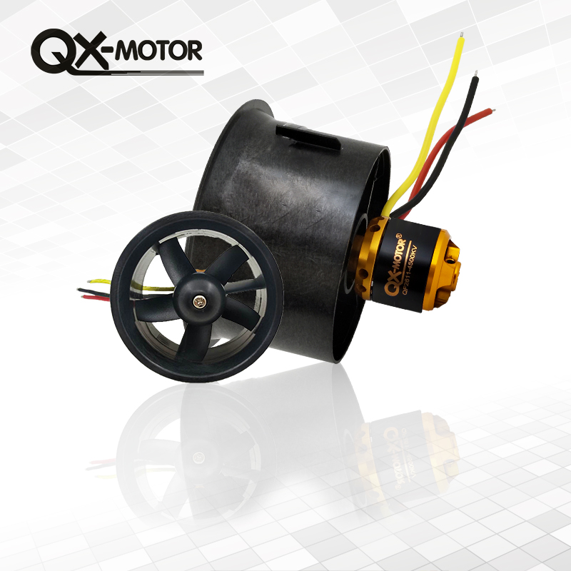 цена на 1set 64mm EDF Set QF2611-4500KV Brushless Motor with 5 Blades Ducted Fan for RC Airplane