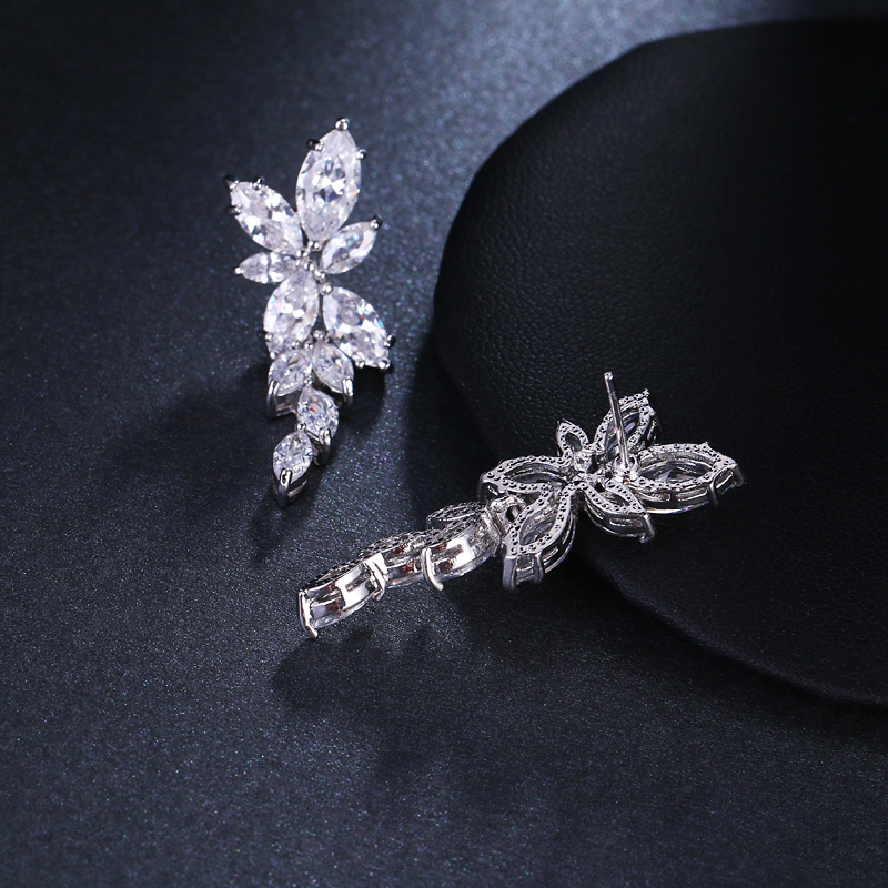 LXOEN Marquise Cut Flower Zirconia Crystal Long Drop Earrings for Women Shiny Leaf CZ Stone Bridal Wedding Jewelry 8