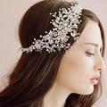 Moda casamento romântico cristal rhinestone beads headband da flor acessórios para o cabelo de noiva cabelo de alta qualidade artesanal jóias