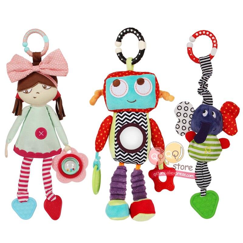 N-Tsi Baby Plush Stuffed Robot Doll Stroller Toys Elephant Rattle Infant Bed Crib Hanging Mobile Toys For Children Kids Gift