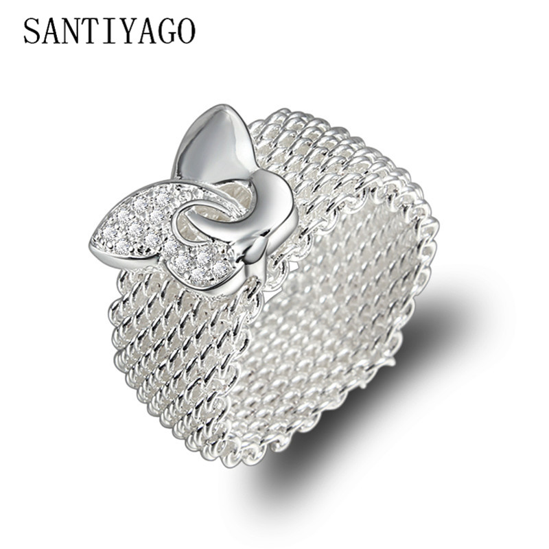Women Rings Jewelry Silver-Plated Cubic-Zirconia Fashion for Mesh CZ Butterfly Elegant