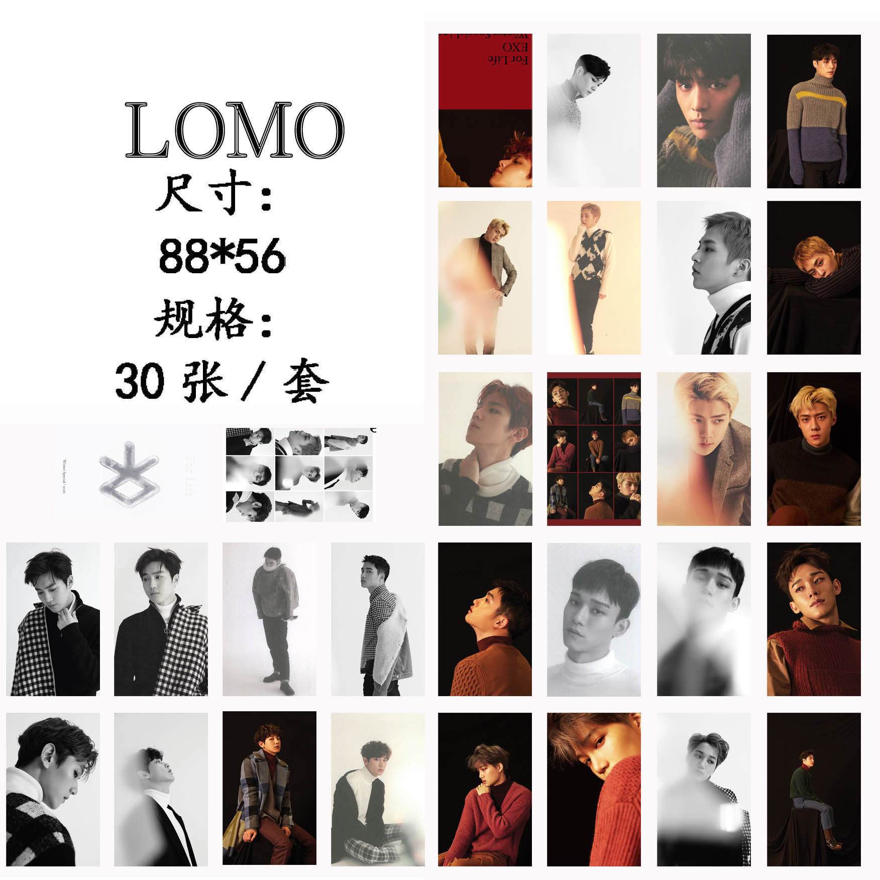 [MYKPOP] EXO FOR LIFE LOMO Cards Paper Photo Card HD Photocard SA18030208