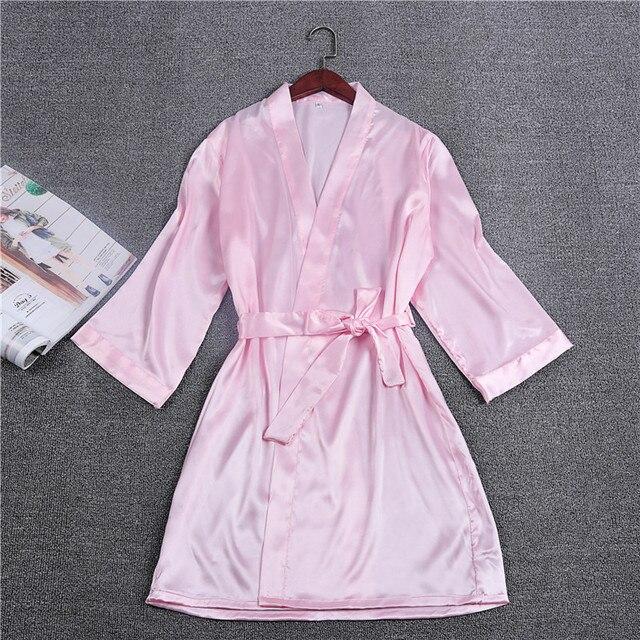 2017 New Silk Kimono Robe Bathrobe Women Rayon Bridesmaid Robes Sexy Pink Robes  Satin Robe Ladies Dressing Gowns M L XL XXL e8fff94d5