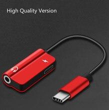 2 pcs juntos Tipo C Cabo de Áudio Adaptador USB Tipo C para 3.5mm Audio jack Splitter fone de ouvido para samsung Huawei Xiaomi Mate20 S9
