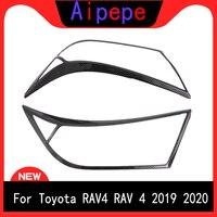 Para Toyota RAV4 2019  2020 2 piezas de Color negro frente cabeza faro luces de decoración de la cubierta Exterior accesorios de coche