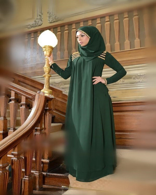 0949799f8bf Elegant Green Muslim Party Gown Plus Size Evening Dress Long Sleeve Beaded  Floor Length Chiffon Italian Prom Dresses