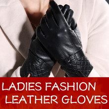 Warm Winter Women Sheepskin Leather Gloves For Women Ladies Black Guantes Genuine Leather Gloves Female Fleece Lined Mittens