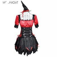 M OONIGHT 2017แฟชั่นใหม่สีแดงสีดำชุดผู้หญิงแม่มด
