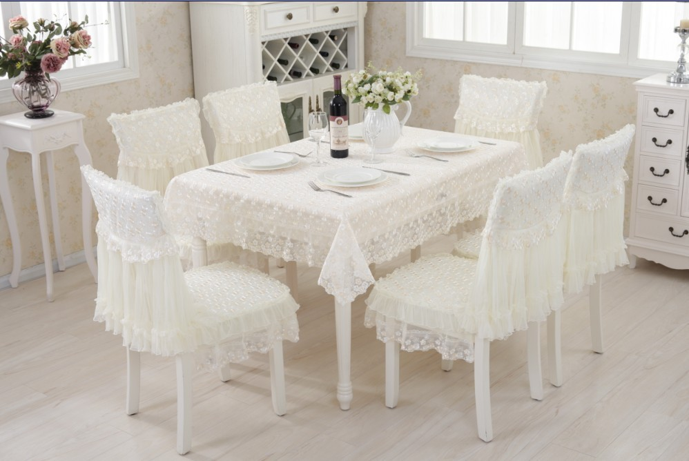 130x180cm Lace Polyester Tablecloth 6sets Chair Cover