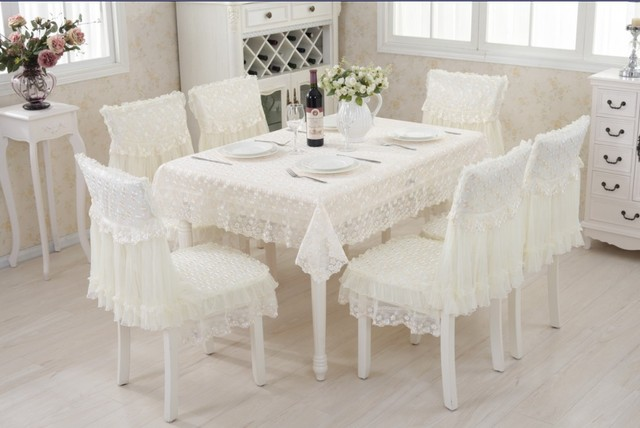 130x180cm Lace Polyester Tablecloth 6sets Chair Cover Dining Chair