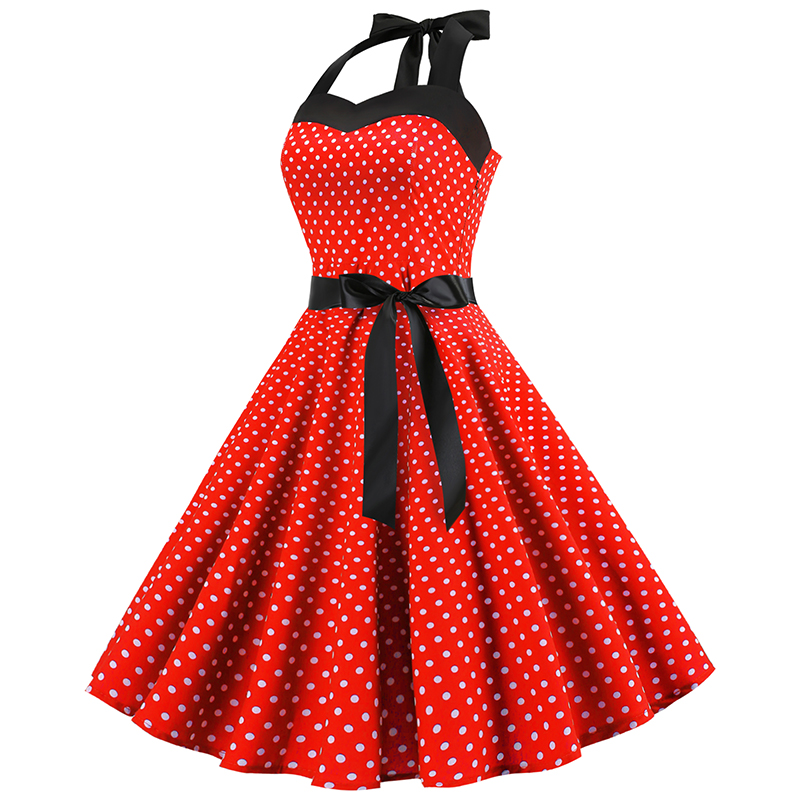 Red New 2019 Retro Polka Dot Hepburn Vintage 50s 60s Sexy Halter Party Dress Pin Up Rockabilly es Robe Plus Size Midi