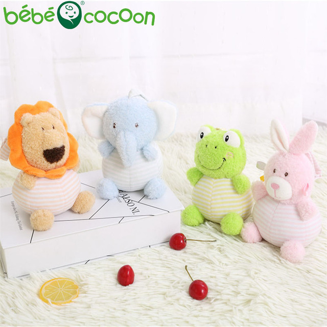 bebecocoon 1-3 Years Baby Kawaii 20cm Rattle hand Bell Stuffed Toy 6 Style Animals Plush Rattle Toy Happy Toddler Gifts Set