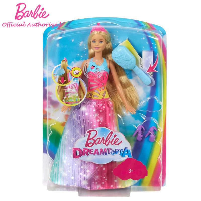 Barbie Rainbow Long Hair Princess Toys Doll Pretty Girl Barbie Brush N Sparkle Princess Dolls Linda Boneca For Girl S Gift Frb12