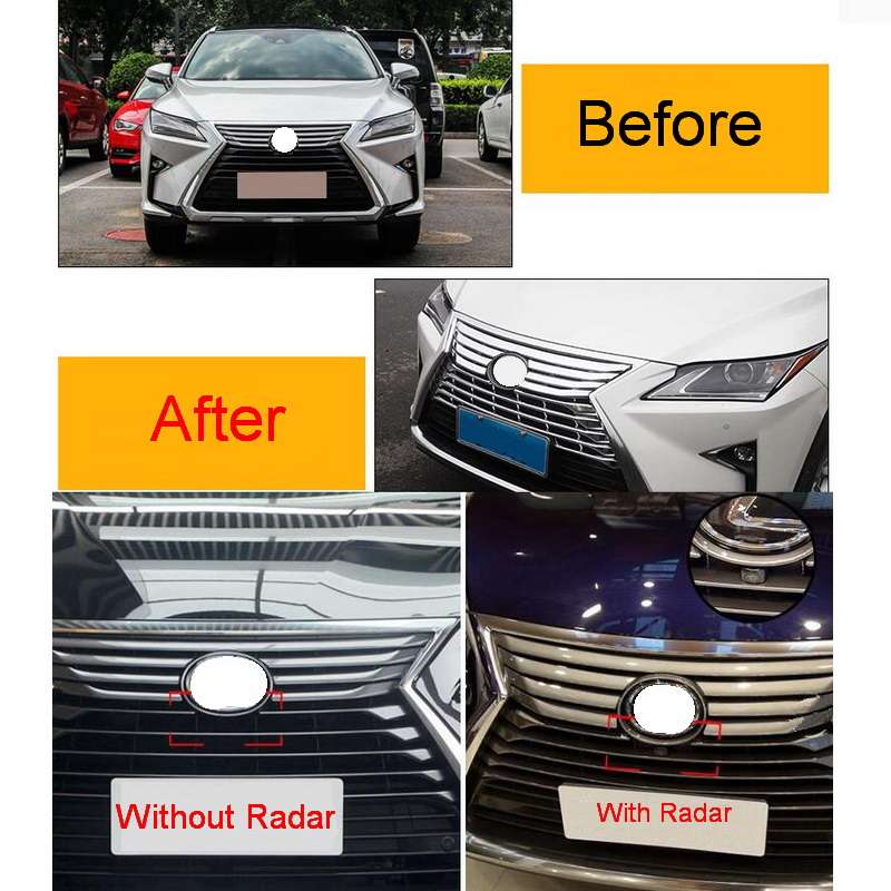 1 PCS Car Styling DIY ABS Chrome Front grille trim cover Light box Cover Case Stickers for Lexus RX200t 450h 2016 Accessories free shipping automobile label car stickers for great wall changcheng front windshield stickers for front window