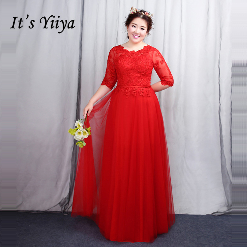 Its Yiiya Formal Evening Dresses Plus Size Tulle A Line Lace Up Customed Floor Length Fashion