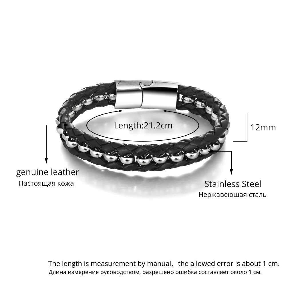 Skórzana pleciona lina bransoletki ze stali nierdzewnej i bransolety biżuteria męska bransoletka dzień ojca prezent (JewelOra BA101351)