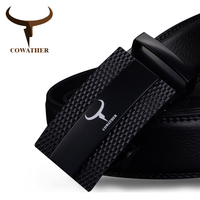 COWATHER Cow Genuine Leather Belts For Men 2017 Automatic Alloy Buckle Male Strap Two Color Fashion