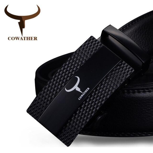 COWATHER корова натуральная кожа пояса для мужчин 2017 автоматическое сплава пряжки мужской ремень двухцветный моды случайные дизайн бесплатная доставка