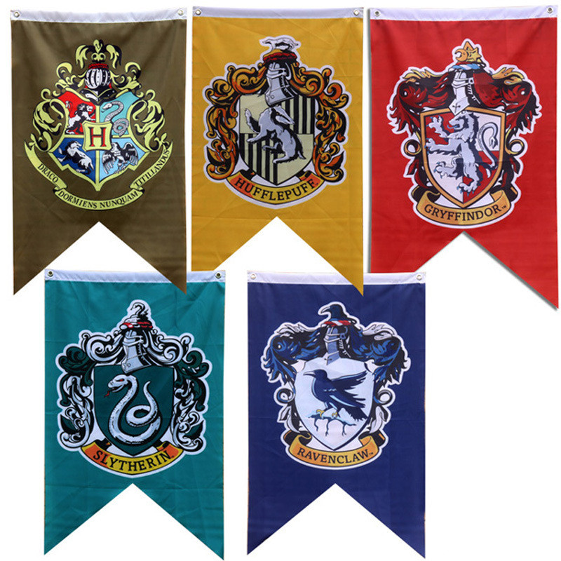 96*64Cm Magic Home Decoration Harri Potter Party Supplies College Flag Gryffindor Slytherin Hufflerpuff Ravenclaw Banners Toys