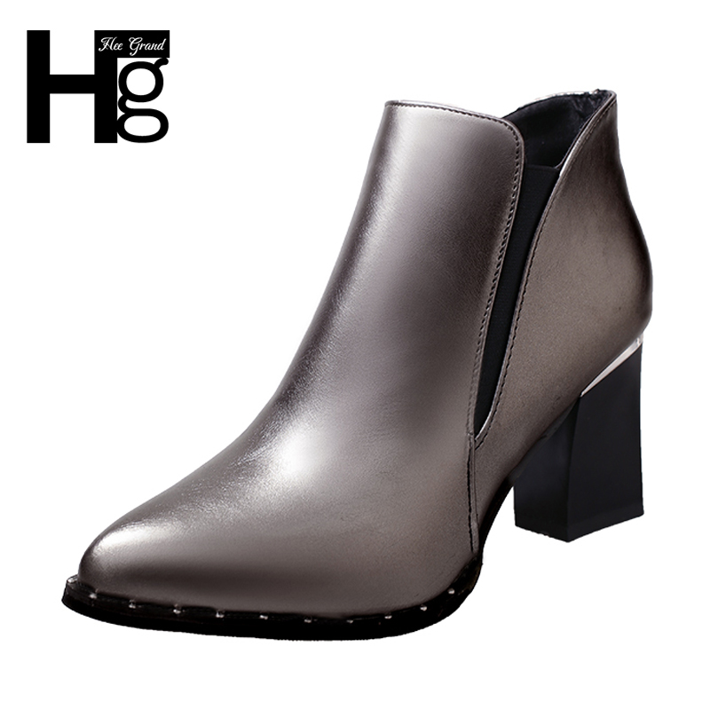 HEE GRAND Winter Crystal Fashion Boots 2017 Sexy Pointed Toe Ankle Boots High Heel Color Silver Shoes Women Size 35-39 XWX6442