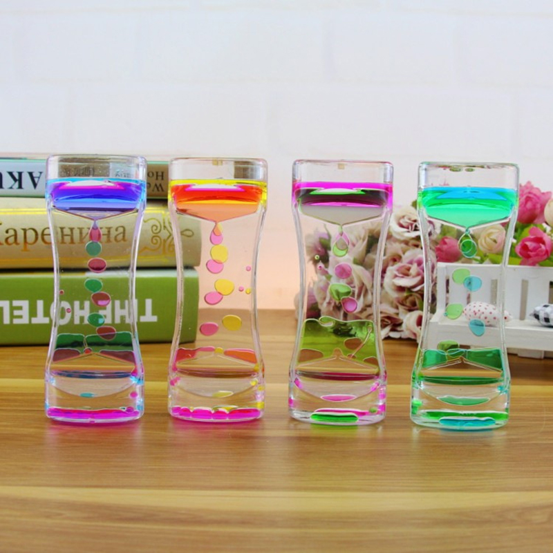 Decompression Anti-stress Fidget Toy Timer Acrylic Hourglass Liquid Oil Motion Bubble Tumbler Gravity Sensory Toys