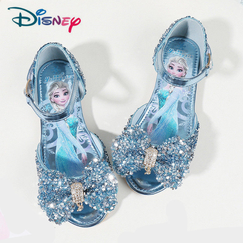 Disney Children's Girls Summer Shoes With PU/Rhinestone Frozen Princess Sandals Baby Girls Single Shoes Sandalia Infantil