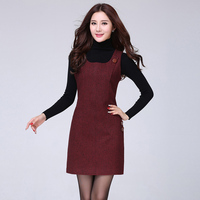 2017 New Fashion Women Autumn Winter Lattice Woolen Vest Dress Houndstooth Sundress Thousand Birds Big Size