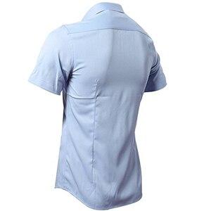 Image 2 - Blau Bambus Faser Hemd Männer 2018 Sommer Kurzarm Herren Hemden Casual Slim Fit Pflegeleicht Feste Nicht Eisen chemise Homme