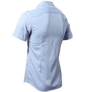 Image 2 - Blauw Bamboevezel Shirt Mannen 2018 Zomer Korte Mouw Heren Dress Shirts Casual Slim Fit Easy Care Effen Non Iron chemise Homme