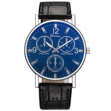 Hombres negocios estilo 3-ojo reloj 2018 hombres Casual cuero reloj de cuarzo hombres deportes al aire libre reloj de pulsera Relogio Masculino