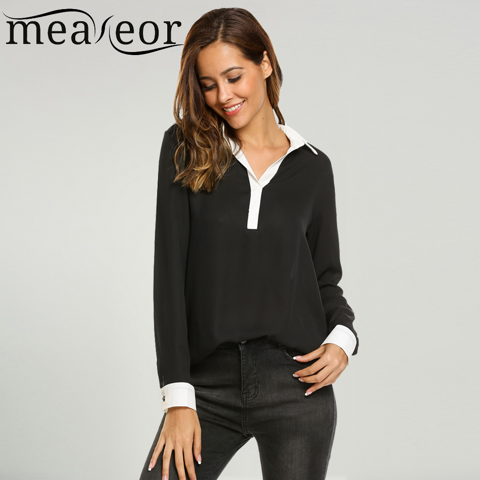 Meaneor Womens Blouse Tops Autumn Casual Long Sleeve Loose Split Neck Solid Button Relaxed-fitting Chiffon Ladies Shirt Blause
