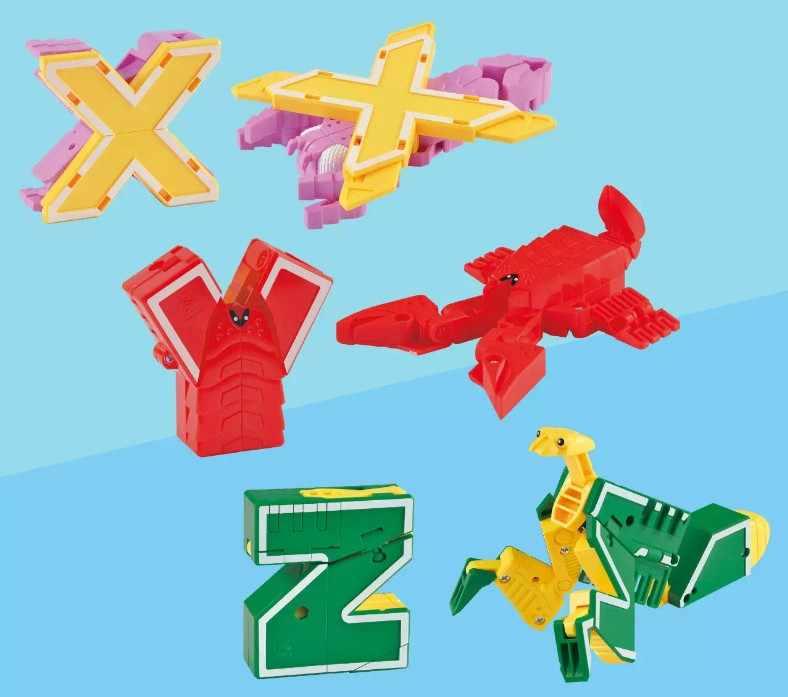 GUDI 26 Carta Inglês Alfabeto Transformador Robô Figuras de Ação Building Block toy Modelo Animal Criativo Educacional Crianças presentes