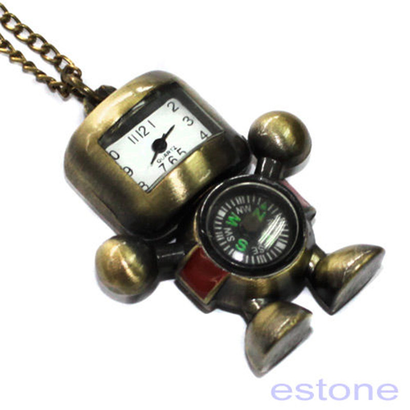 Watches Hot Vintage Bronze Tone Robot Compass Pocket Chain Quartz Pendant Watch Necklace
