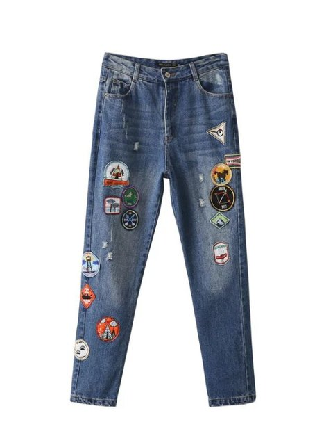 LJ75-8231 European fashion pictorial section patchwork jeans