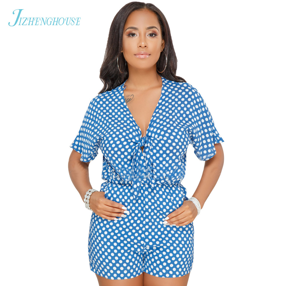 JIZHENGHOUSE 2018 Sexy Summer Short Sleeve V Neck Dot Rompers Party Casual Overalls Short Jumpsuit