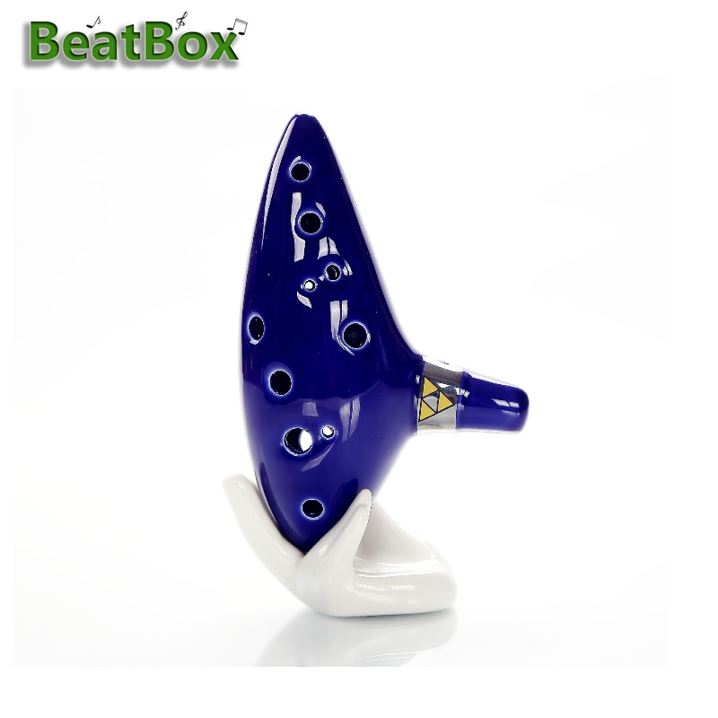 12 Holes Ocarina Legend Of Zelda Alto C Flute Occarina Taps Blue Ceramic Orcarina Inspired Of Time With Bag,Hand Suppor,Sling