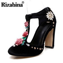 RIZABINA Size 34-43 Vintage Women Real Genuine Leather High Heel Sandals Flower T Strap Spike Summer Party Shoes