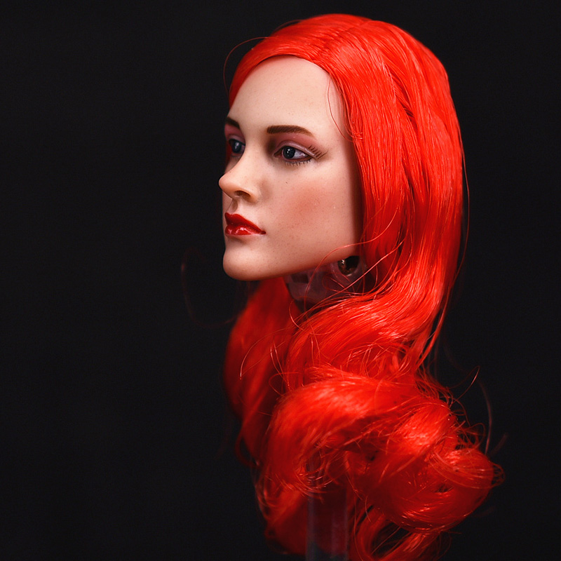 1/6 Sexy Female Red Long Curls Hair Head Sculpt for 12 Action Figure Body doll Toys soldier head model toy 1 6 popular km 38 female head sculpt model with black hair for 12 female action figure body doll toys