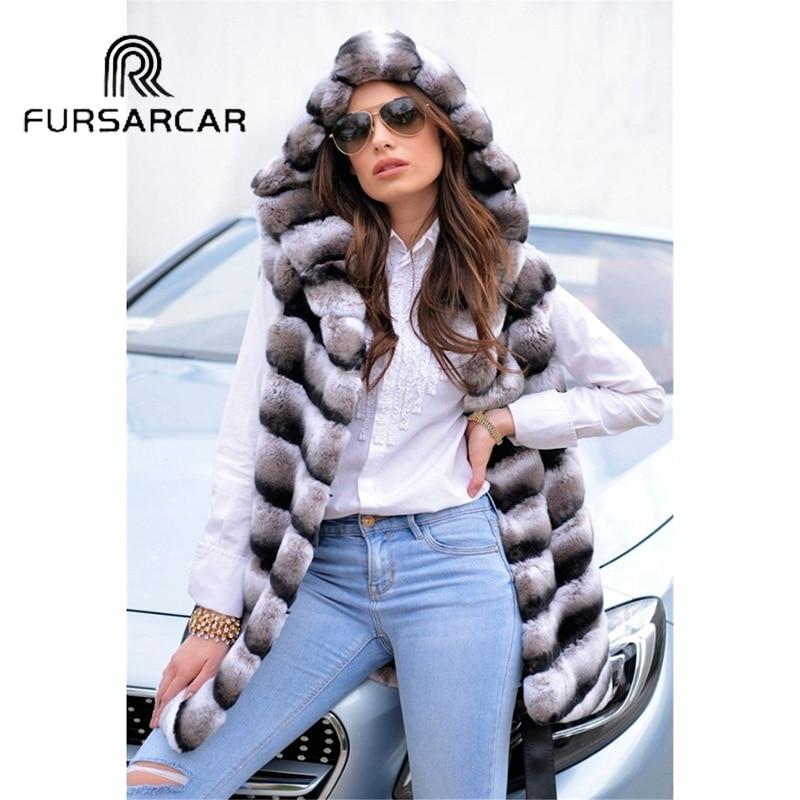 Épais Chaud Avec Gilet Vraie D'hiver Luxe Fursarcar Lapin De Rex Femmes Nouveau Style Fourrure Capuchon BqTOxxR7w