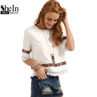 SheIn Beige Vintage Embroidered Fringe Blouses Summer Womens Casual Tops Round Neck Half Sleeve Patchwork Blouse