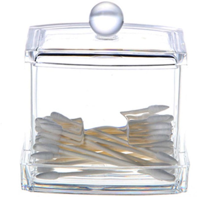 Fashion Clear Acrylic Cotton Swabs Organizer Box Cosmetic Q Tip Storage  Holder Makeup Storage Portable