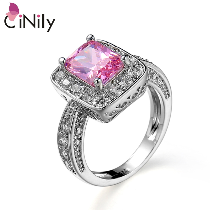 Cinily Jewelry Ring-Size Wedding-Gift Silver-Plated Cubic-Zirconia Women for 6-10 NJ11159