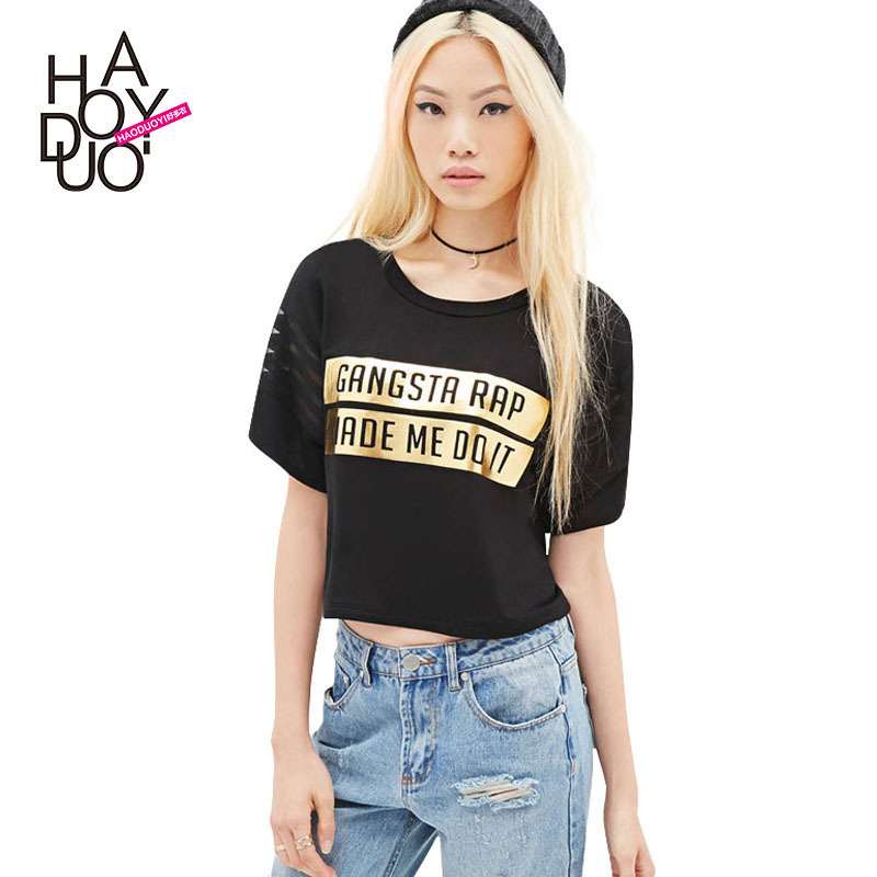 2015 New Summer Style Plus Large Size Women Black Crop Top -7165
