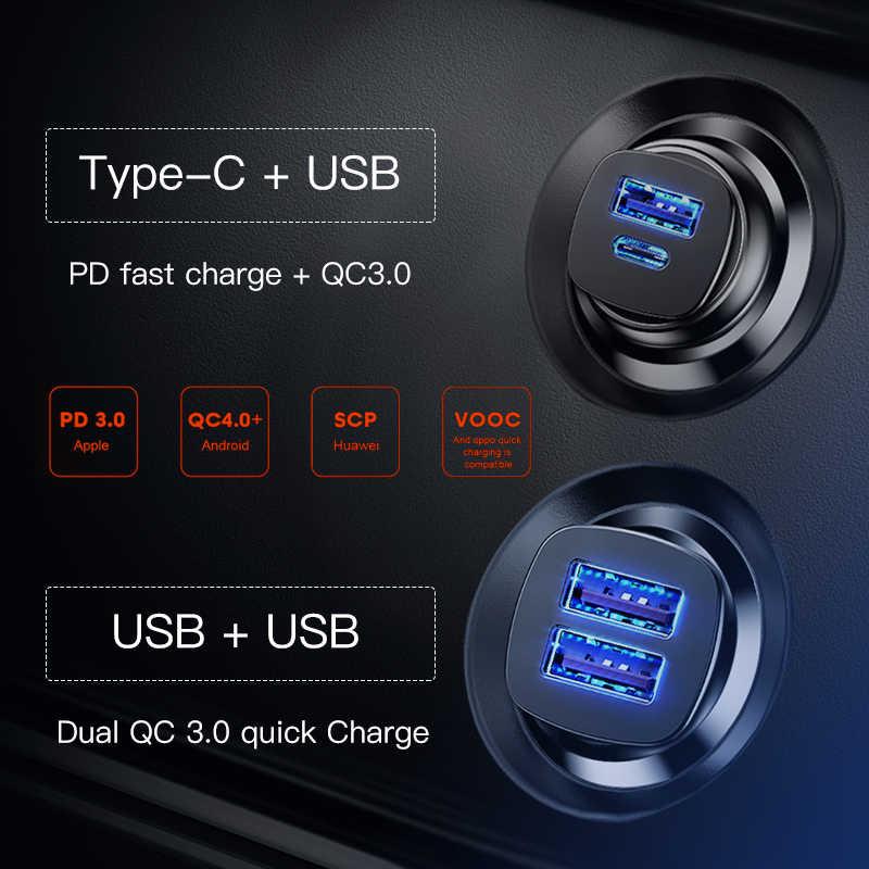 Baseus شحن سريع 4.0 3.0 USB سيارة شاحن آيفون 11 برو ماكس شاومي هواوي SCP QC QC4.0 QC3.0 C PD سريع شاحن هاتف السيارة