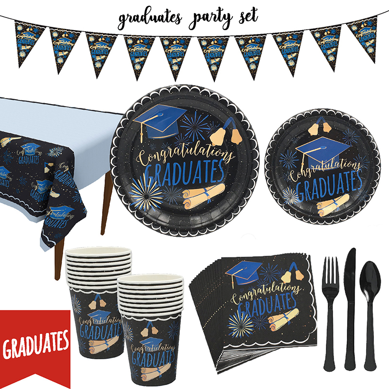 91Pcs/set Graduation Party Decorations paper Plates Cups Tableware Birthday Party Decorations For Kids Party Supplies