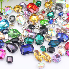 Glitter Mix Shape Size Glass Rhinestones For Clothes Red Loose Flatback Dress Stones Decorative Crystal Sew On 50PCS